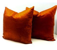 Luxury Copper Velvet Pillow Cover, Velvet Pillow, Designer Pillows, Decorative Throw Pillow, Cushions, Copper Velvet Sofa Pillow Case Covers by duruhome on Etsy
