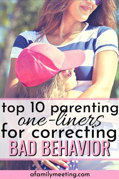 "You know when you hear another mom say a great parenting one-liner and think to yourself, ""Woah!"" A good parenting one-liner for correcting a child's bad behavior, bad behavior kid's management, correc Parenting Goals, Good Parenting, Parenting Hacks, Parenting Toddlers, Parenting Classes, Foster Parenting, Parenting Styles, Bad Parenting Quotes, Practical Parenting"
