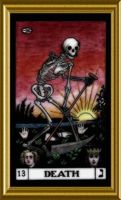 Somewhat apprehensive in appearance, it actually signifies change.birth, and leaving something behind. Tarot Death, Oracle Cards, Tarot Cards, Witches, Decks, Mystic, Spiderman, Skull, Symbols