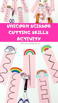 Unicorn Rainbow Scissor Cutting Activity for Kids. Grab the printable template to practice fine motor skills. Cutting Activities For Kids, Motor Skills Activities, Sensory Activities, Toddler Activities, Preschool Workbooks, Preschool Learning, Preschool Crafts, Learning Activities, Educational Activities