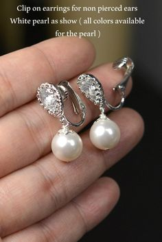 Wedding Jewelry Bridesmaid Gift Bridesmaid Jewelry Bridal Jewelry Pearl Drop Cubic Zirconia ,clip on earrings , non pierced earrings