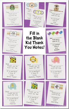 fill in the blank kid thank you notes