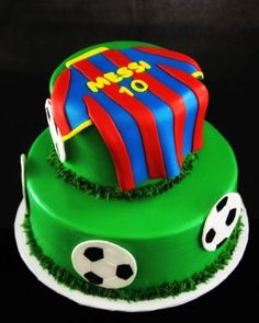 Soccer Cake with Messi Jersey for 2014 Brazil World Cup Party