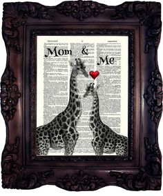 MOTHER'S DAY GIFT for Mom from daughter gift for Mum Gift Mother Giraffe Art…