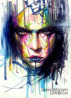 Gaze II,Portrait Painting Artist Study Minjae Lee ,Resources for Art Students, CAPI ::: Create Art Portfolio Ideas at milliande.com , Inspiration for Art School Portfolio, Portrait, Painting, Figure, Faces, Mixed Media, Head, Expression, Art Teacher