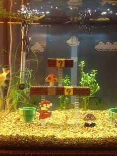 Awesome Super Mario Bros. LEGO fish tank.