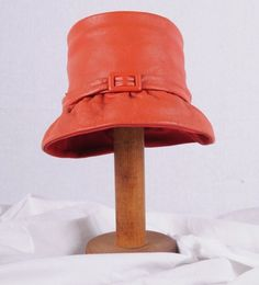 Janyth Roy New York Vintage Red Leather Hat by vintageestatements, $48.00
