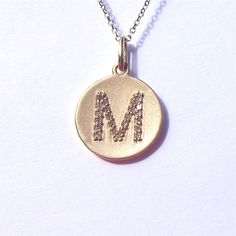 14k gold personalized disc mothers necklace 14k yellow gold diamond initial disc pendant necklace on etsy 35000 mozeypictures Image collections