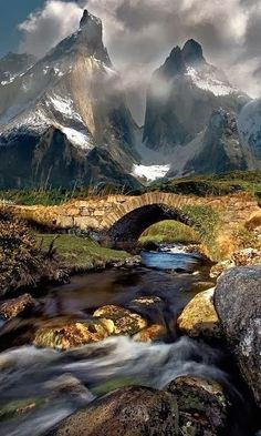Mountain Stream in Torres del Paine, Chile. Mountains in the distance...