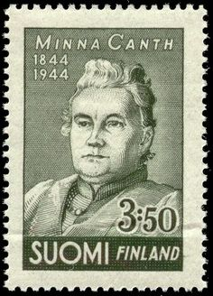 Postage stamp depicting the Finnish writer Minna Canth (1944).