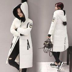 Fashion Winter Jacket Women Parkas Hooded Solid Long Down Cotton Coat Overcoat | eBay