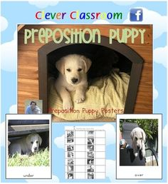 Preposition Puppy Posters - PDF file 10 page resource file. ~ Recently revised to now include cover page, record sheet and ideas page.Pos...