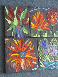 a selection of mosaic flowers by Kat Gottke