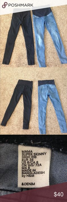 H&M maternity skinny jeans- size 8 Selling two pairs of H&M maternity skinny jeans- both are size 8/38. Both are very stretchy and incredibly comfortable. Black jeans have motto detailing in the knees and are slightly faded. The light blue denim jeans are in like new condition. These come from a smoke free, pet free home. H&M Jeans Skinny