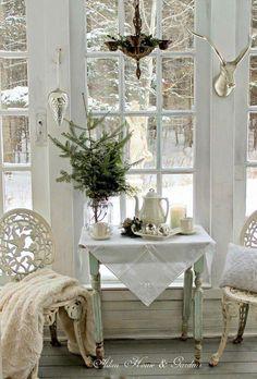 cozy white winter window