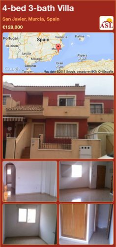 Villa for Sale in San Javier, Murcia, Spain with 4 bedrooms, 3 bathrooms - A Spanish Life Murcia Spain, Built In Wardrobe, Terrace, Golf Courses, Spanish, Villa, San, Mansions, Bathroom