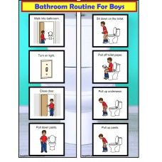 FREE! Bathroom Visual Schedule For Boys with creative backgrounds to use as mounting strips!  Available at http://www.AutismEducators.com.