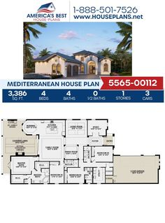 If you love a more unique design, check out Plan 5565-00112 featuring 3,386 sq. ft., 4 bedrooms, 4 bathrooms, a lanai, a formal living room, a breakfast nook, and a study concept. Visit our website for more details about this Mediterranean house plan! Floor Plan Drawing, Mediterranean House Plans, Family Room Fireplace, Stucco Exterior, Cost To Build, Floor Framing, Common Room, Best House Plans, Build Your Dream Home