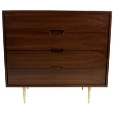 Dunbar style Walnut Bachelor's Chest with Brass Legs | 1stdibs.com