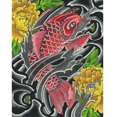 SIZE A Canvas Giclee Reproduction Red Koi