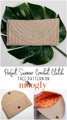 The Perfect Summer Crochet Clutch features standout texture and that classic straw look for a handmade summer wardrobe staple! And it's a free crochet purse pattern on Moogly, featuring Red Heart Crochet Nylon!  #freepatterns #freecrochet #redheartyarns #perfectsummerclutch #mooglyblog #summerstaples #summerwardrobe #strawclutch