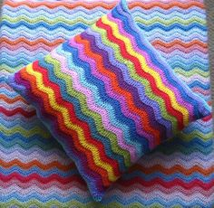 Ripple Cushion Cover.  So easy.  Just single crochet the back square in one color.