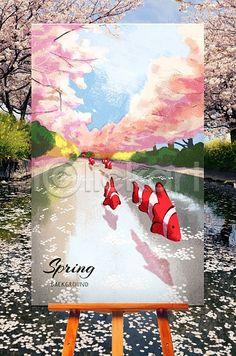 Spring Background  #illust, #spring, #CherryBlossom,#TropicalFish  #iclickart