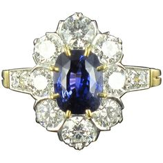 New French Cushion Cut Sapphire Diamond Gold Platinum Cluster Ring