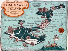 WDWNT is dipping into our archives of vintage parks materials to visit Disneyland in 1957 and explore Tom Sawyer Island with this map! Walt Disney, Disney Map, Disney Posters, Disney Love, Disney Parks, Disney Rides, Disney Souvenirs, Disney Cartoons, Disney Stuff