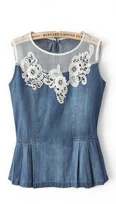 Flowers Lace Denim Top inspiration