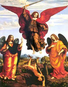 Los tres arcángeles: Miguel, Gabriel y Rafael