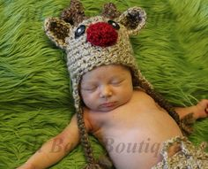 Infant TAN Rudolph Reindeer Crochet hat GREAT photo prop or gift for Christmas