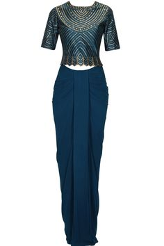 MEDHA BATRA Ink Blue detachable draped saree gown with sequins embellished koti blouse Western Dresses, Indian Dresses, Indian Outfits, Indian Designer Outfits, Designer Dresses, Traditional Skirts, Drape Sarees, Saree Gown, Saree Styles