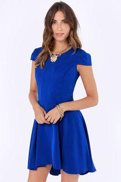 A Sight To Be Seam Royal Blue Skater Dress at LuLus.com!