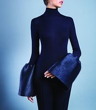 unworn CELINE Phoebe Philo navy ribbed turtleneck sweater bell sleeves M fits S