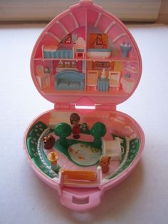 Vintage Polly Pocket Bluebird 1989 Country Cottage Doll  Cat Dog Pink Heart Case #DollswithClothingAccessories