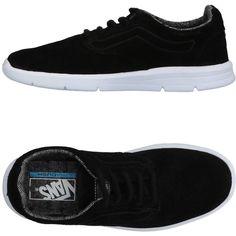 Vans Low-tops & Sneakers ($100) ❤ liked on Polyvore featuring shoes, sneakers, black, leather sneakers, black flat sneakers, leather shoes, black leather shoes and vans trainers