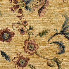 Avocado Beige and Burgundy Floral Chenille Upholstery Fabric