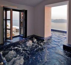 indoor/outdoor hot tub room for my dream home! Future House, My House, Fish House, Hot Tub Room, Sweet Home, Outdoor Pool, Indoor Outdoor, Outdoor Balcony, Outdoor Bathtub