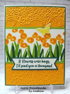 Stampin' Up! Abstract Impressions stamp set, Petal Pair embossing folder with Mango Melody, Granny Apple Green and Shaded Spruce. By: Savvy Handmade Cards