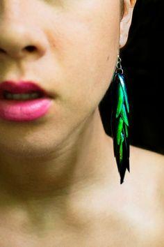 "Real Beetle Wing Earrings - (3.5"" long - medium size) - Beetle Jewelry, Elytra Beetle, Beetle Earrings, Taxidermy"