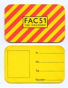 Membership Card - The Hacienda, 1982 - Manchester Digital Music Archive Factory Records, Peter Saville, Member Card, Joy Division, Human Emotions, Dance Music, Music Stuff, Typography Design, Manchester