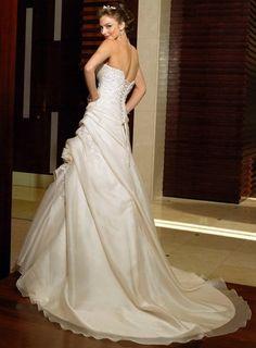 Ivory satin wedding dress