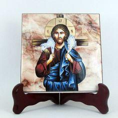 Catholic Icon - Jesus picture  Good Shepherd  Ceramic Tile - Christian handmade art by TerryTiles2014