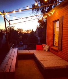 DIY pallet patio furniture & homemade cushions.