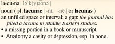 Definition Lacuna, Branding Ideas, Cavities, Definitions, Anatomy, Depression, Sheet Music, Study, Journal