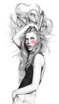 Artist: Minni Havas for Trendi {contemporary figurative illustrator beautiful female bunny ears pink rouge drawing} minnihavas.fi