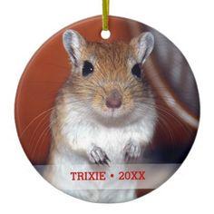 Personalized Pet Gerbil Photo Name Christmas Tree Ceramic Ornament - holidays diy custom design cyo holiday family