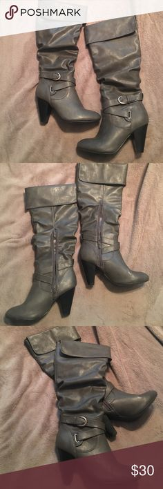"""Charcoal gray boots. 4"""" heel. Only worn twice, the cuffs unfold if you would like to wear them as knee high boots. They are charcoal gray with a 4"""" heel with straps and buckles around the ankle. Rampage Shoes Heeled Boots"""