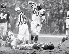 Chuck Bednarik and Frank Gifford Eagles at Giants, Nov. 20, 1960 Philadelphia Eagles linebacker Chuck Bednarik celebrates after laying out New York Giants running back Frank Gifford at Yankee Stadium. The hit forced Gifford to temporarily retire from football.